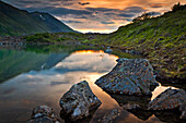 Scenic view of Symphony Lake at Sunset, Chugach Mountains, Chugach State Park, Southcentral Alaska, Summer