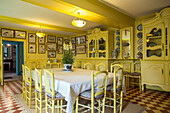 the yellow dining room and the japanese prints, the impressionist painter claude monet's house, giverney, eure (27), normandy, france