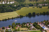 village of tournedos-sur-seine, aerial view of the valley of the seine, eure (27), normandy, france