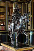 equestrian statue in bronze of the king of france louis xiv in the library, chateau de maintenon, eure-et-loir (28), france