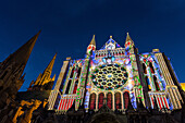 illumination of the south door, new scenography at the notre-dame cathedral for the evening show 'chartres in lights', chartres, eure-et-loir (28), france