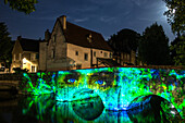 illumination of the minimes bridge, new scenography for the evening show 'chartres in lights', chartres, eure-et-loir (28), france