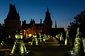 illumination at nightfall of the french-style gardens by andre le notre, chateau de maintenon, eure-et-loir (28), france