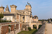 facade of the chateau d'anet, diane de poitiers's hunting residence with the stag and dogs on the main gate, anet (28), france