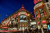 illumination of the department stores on the big boulevards, the printemps-haussmann, 9th arrondissement, paris (75), ile-de-france, france