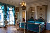 blue bedroom in the villa ephrussi de rothschild, saint-jean-cap-ferrat, (06), alpes-maritimes, paca, france