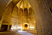 on the first floor, the knightsÆ room in the constance tower. it was here, in the 18th century, where protestants were imprisoned, of whom the most well-known was marie durand, aigues-mortes, gard, camargue, france