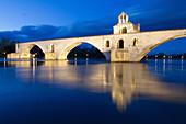 night shot, saint benezet bridge, also called the bridge of avignon, built between 1177 and 1185 over the rhone, avignon, vaucluse (84), france
