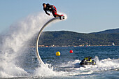 jet cup in sainte maxime, world and grand sud championship, may 3 and 4, 2014, demonstration by vincent lagaf, romain stampers and zapata racing, sainte maxime (83), paca region, southern france