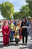 festival of saint louis, celebration of the 800 year anniversary of the birth of louis ix, gates of the ramparts, the elected officials, actors and mr guy delmas carrying the keys, organizer of the festival, sword fight, aigues-mortes, gard (30), france