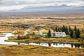 thingvellir national park, site of the old parliament where the independence of iceland was proclaimed, listed as a world heritage site by unesco, a fault zone and active volcano zone, the golden circle, southeastern iceland, europe