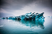 iceberg in the jokulsarlon, glacial lagoon coming from the melting of the vatnajokull, the biggest glacier in europe, southeast iceland, europe