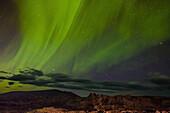 aurora borealis over the region of myvatn lake, northern iceland in the area around the volcano krafla, iceland, europe