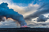site of the eruption of the volcano holuhraun spewing out lava and toxic gasses (sulphur dioxide) over northern europe, bardarbunga volcanic system, f910, north of the glacier dyngjujokull in the glacier vatnajokull glacier, highlands, northeast iceland,