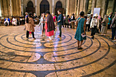 labyrinth at the notre-dame cathedral, religious meditative walk open every friday to pilgrims and the faithful, chartres, eure-et-loir (28), france