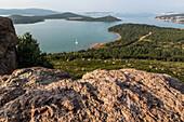 panorama of seytan sofrasi (devil's table) on the gulf of ayvalik, the olive riviera, north of izmir on the aegean sea, turkey