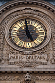 paris-orleans clock, facade of the old station that has become the orsay museum, quay anatole france, paris, ile-de-france (75), france