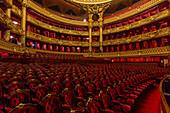 performance hall, orchestra seats in the opera garnier, palais garnier, 9th arrondissement, (75), paris, ile-de-france, france
