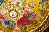 interior of the opera garnier, palais garnier, ceiling painted by marc chagall in 1964, 9th arrondissement, (75), paris, ile-de-france, france