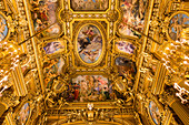 interior of the opera garnier, palais garnier, the great foyer painted by baudry, the ceiling takes on the classic themes of greek mythology, with thirty paintings on 500 square metres, 9th arrondissement, (75), paris, ile-de-france, france