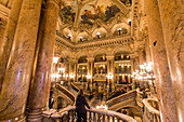 big marble stairway, opera garnier, palais garnier, 9th arrondissement, (75), paris, ile-de-france, france