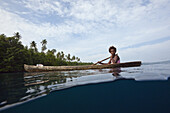 Local People in typical Dugout Canoe, Florida Islands, Solomon Islands