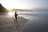 Beach No.7, or Radhanagar Beach, Female snorkeller in the morning, West Coast, Havelock Island, Andaman Islands, Union Territory, India
