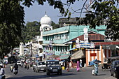 Main road in Aberdeen Bazaar, above the clock tower, center, capital of Port Blair, South Andaman, Andaman Islands, India