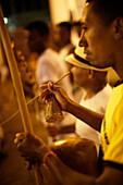 Musical instruments accompanying the Capoeira training in Mercado Cultural, Associacao de Capoeira, Grupo Esquiva in Lencois is part of Corda Bamba (from Salvador), Market Hall in the center of Lencois, the main town, starting point for Chapada Diamantina