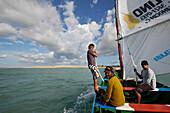 Sailing with fishing boat (Canoa) near the fishing village of Maceio, west Camocim, west Jericoacoara, Ceara, Brazil