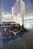 Permanent installation of painted bricks, representation of a favela, art project by residents of the favela Santa Teresa, the foyer of the MAR, Museum of Contemporary Art Rio, Porto Maravilha area of Centro / Center, Rio de Janeiro, Rio de Janeiro, Brazi