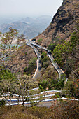 Valparai - Pollachi Road, hairpin bends, driving down to the plateau, south Pollachi, Tamil Nadu, Western Ghats, India