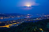 Fullmoon over Zurich at night, Zurich, Switzerland