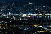 Zurich at night, View from the Uetliberg, Zurich, Switzerland