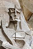 Sagrada Familia basilica, Passion façade : Tied Christ, sculpture by Joseph Maria Subirachs, Barcelona, Spain