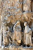 Sagrada Familia basilica, Nativity façade : the flight to Egypt, Barcelona, Spain