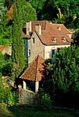 Europe, France, Lot,  general view of Saint Cirq Lapopie village
