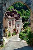 Europe, France, Lot,  street view of Saint Cirq Lapopie village