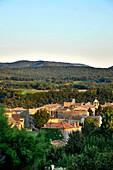 France, Rhone-Alpes, Drome, Beaufort-sur-Gervanne village at the entrance of the Regional Natural Park of Vercors, landscape