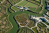 France, Western France, Charente-Maritime, Poitou-Charente, near Chaillevette , salt marsh, aerial view