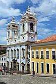 N, S Rosario dos Petros church in  Pelourinho, the historical center of  Salvador da Bahia, the city of the Holy Saviour of the Bay of all Saints on the northeast coast of Brazil , South America