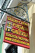 studio do carmo sign in Salvador da Bahia, the city of the Holy Saviour of the Bay of all Saints on the northeast coast of Brazil , South America