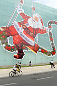 Santa Claus on wall in Salvador da Bahia, the city of the Holy Saviour of the Bay of all Saints on the northeast coast of Brazil , South America