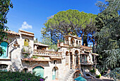 Italy, Sicily, Taormina, Villa Comunale public gardens, Old house