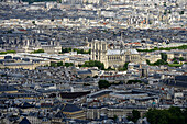 Europe, France, Paris, aerial view of the Notre-Dame Cathedral and the Town Hall
