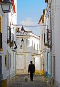 Portugal,man walking with his dog in a narrow street of Evora