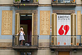 Spain, Catalonia, Barcelona, Rambla, frontage of the erotic museum, May 2014