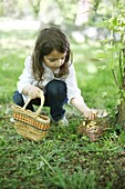 A 5 years old girl picking up Easter eggs in the countryside