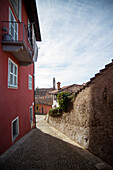 Cobblestone Street in Center of Quaint Village, Monforte d'Alba, Italy