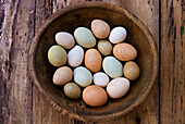 Bowl of Assorted Colorful Eggs, High Angle View